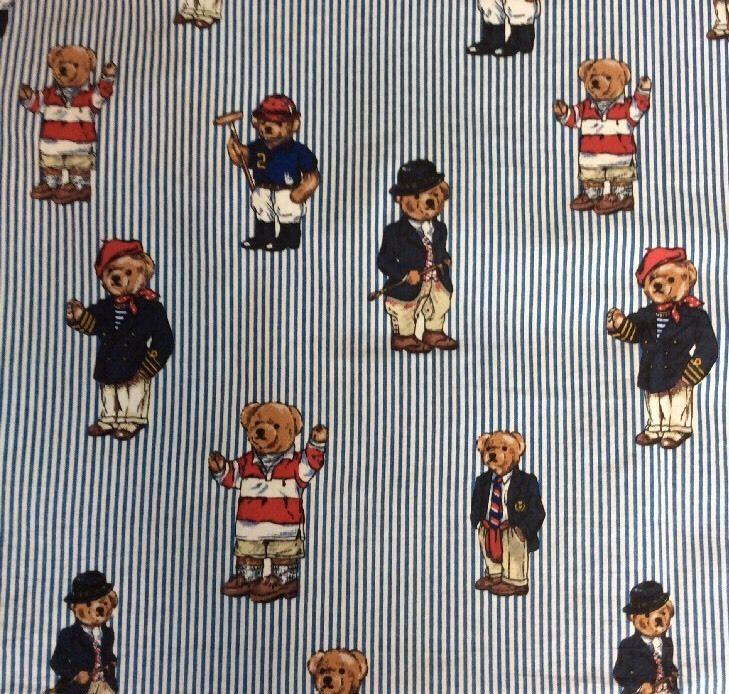Ralph Lauren Teddy Bear Polo Twin Set Lot Fitted Flat Sheet Fabric Material  | eBay