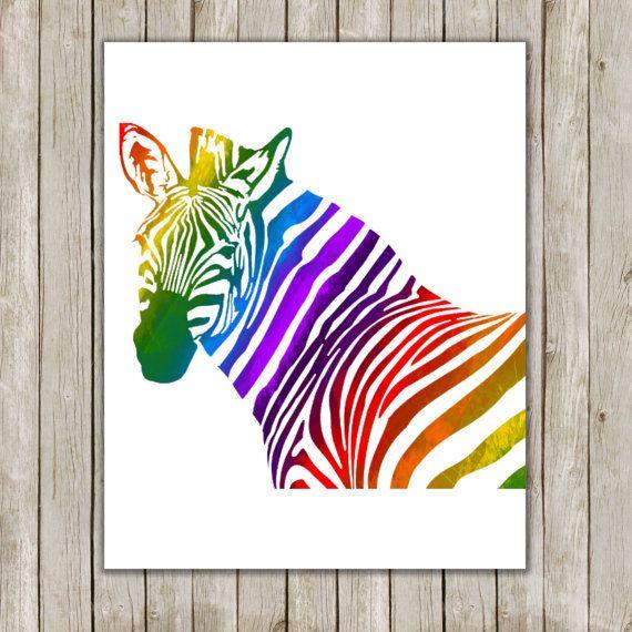 8x10 Rainbow Zebra Art Print Zebra Printable by twomoonsandafry