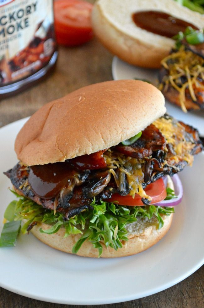 The best Barbecue Grilled Chicken sandwich made right at home. Grilled barbecue chicken is topped with mushrooms, cheese, & bacon for a winning combination #evergriller #sponsored