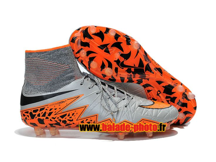 Nike Hypervenom Phantom II FG Chaussures de football Orange Noir Gris 4522