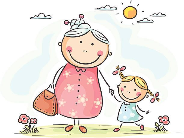 Menina Com A Avo Ilustracao De Arte Vetorial Desenho De Boneco
