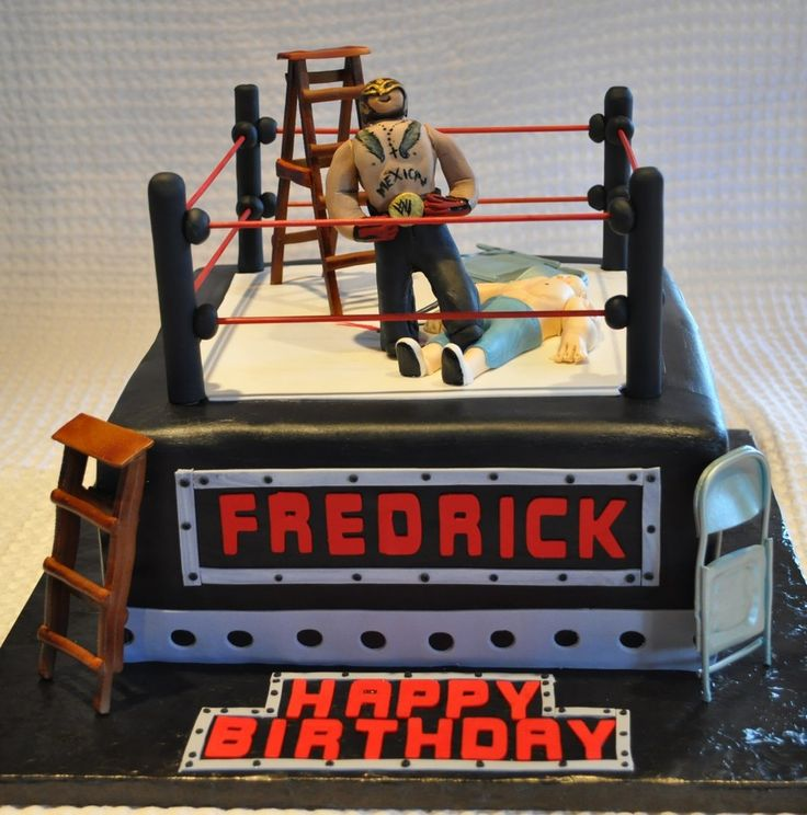 Wwe Cake This was done for a 6 year old birthday. All vanilla cake. Chairs, ladder and wrestlers made out of gumpaste. Thanks from help...