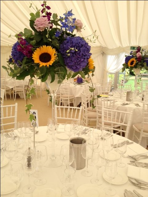 Bright and cheerful sunflower arrangement at Silchester House