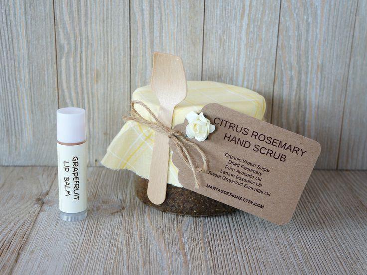 Gift set for women, gift set for her, citrus rosemary hand scrub 8 oz & grapefruit lip balm, gift for mom, gift for her, gift sets by MartaGDesigns on Etsy