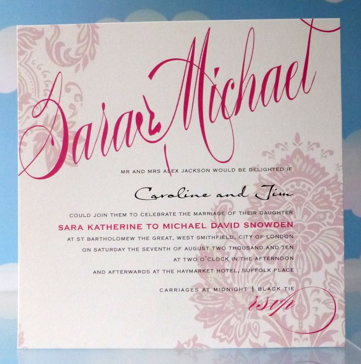 Pink Damask invitation - a lovely 600gsm board. www.heathermarten.co.uk