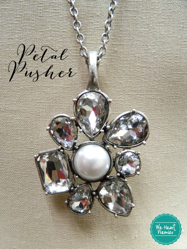 The new Premier Designs Petal Pusher necklace comes with a gorgeous magnetic enhancer you can use on so many other favorite necklaces.  Looks great worn long, or double the chain to wear it short.  #weheartpremier