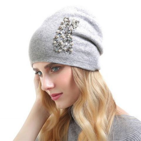 36dd76d2 Rhinestone beanie hat with beaded for women winter knit hats ...