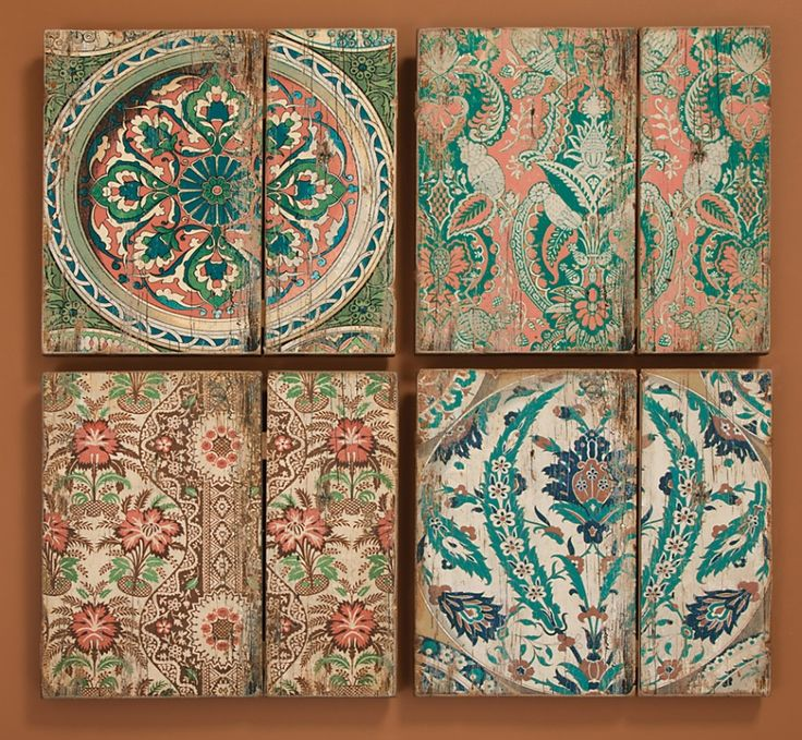 Wall Panels Vintage Wallpaper Patterns On Wood Have A