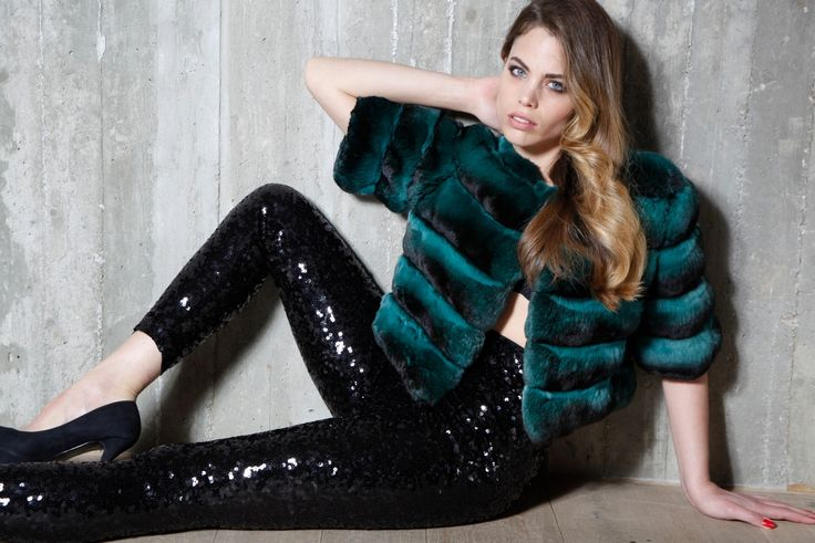 Make a fashion statement with a 'Racing Green' chinchilla fur jacket.