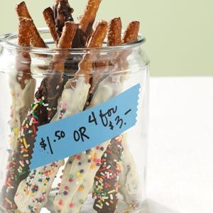 Chocolate-Dipped Pretzel Rods - great gift idea for parties, weddings or showers.