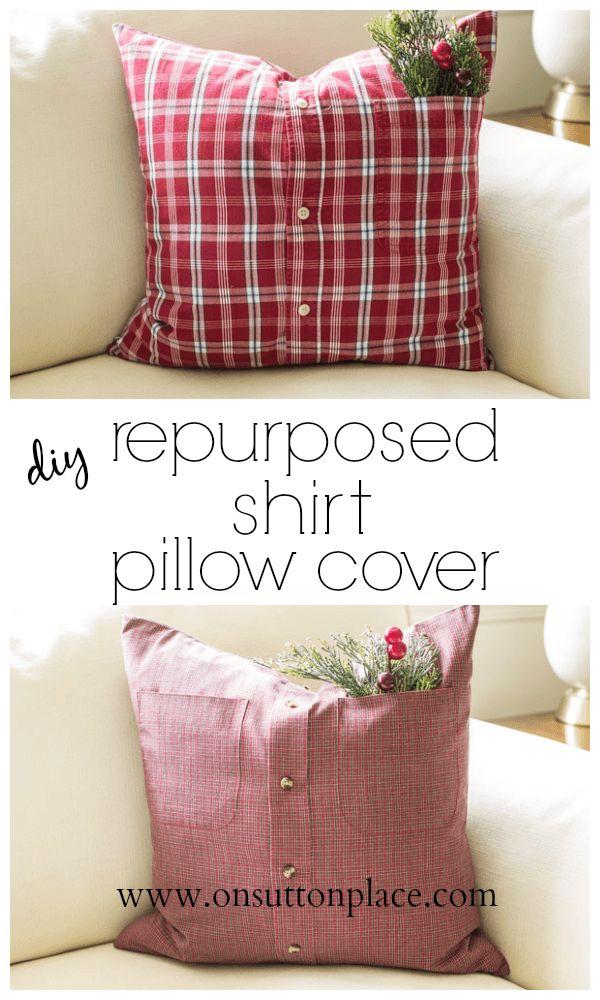 DIY transforma una camisa vieja en una funda de almohadón ¡me encanta! y es súper fácil!!!! ♥  DIY Repurposed Shirt Pillow Cover