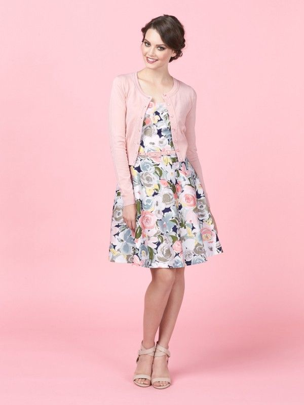Review Australia || The Royal Garden Dress in Floral $279.99 Featuring a vintage floral print that's exclusive to Review, the Royal Garden Dress is a soft and feminine style. Made from a dobby textured cotton elastane sateen, it has a circular skirt, gathered cap sleeves and a scoop neck. It comes complete with a blush pink tailored belt. Length: 90cm approx. Colour: Multi