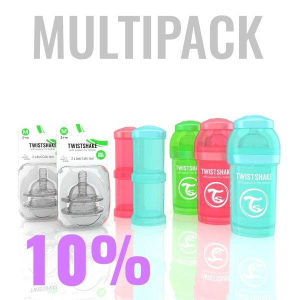 45.28€ Multipack with 3x 180ml/6oz Twistshake bottles, 2x Powder boxes, 2x teats