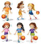 Pouco jogadores de basquete feminino — Vetor de Stock