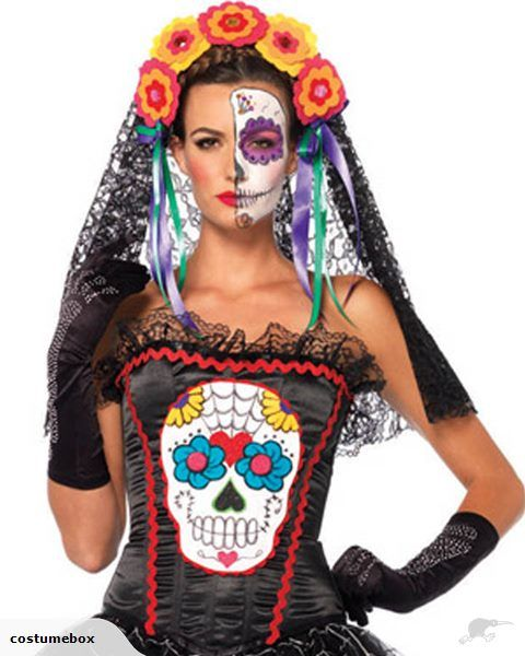 Size: Small      Spanish Sweetie! Get into the Day of the Dead craze with this Mexican Sugar Skull Corset  a beautifully detailed black satin ruched bustier wit...