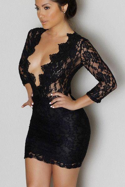 Black Lace V-Neck Mini Club Dress LAVELIQ  SALE