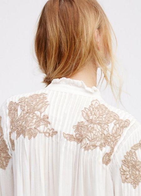 romantic white floral blouse