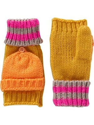 Pink and orange mittens from Old Navy.