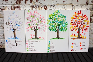 "4 seasons fingerprint art. Kids get to collaborate on this class project and each ""signs"" his/her thumbprint color at the bottom. Such a fun idea!"