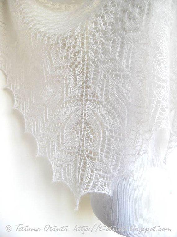White lace shawl hand knit bridal wrap wedding scarf by Otruta