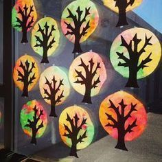I had to share these incredibly easy fall trees that my Grade One class made! Students used eyedroppers to drip liquid water color ...