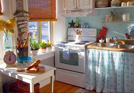 Cortinas na pia da cozinha