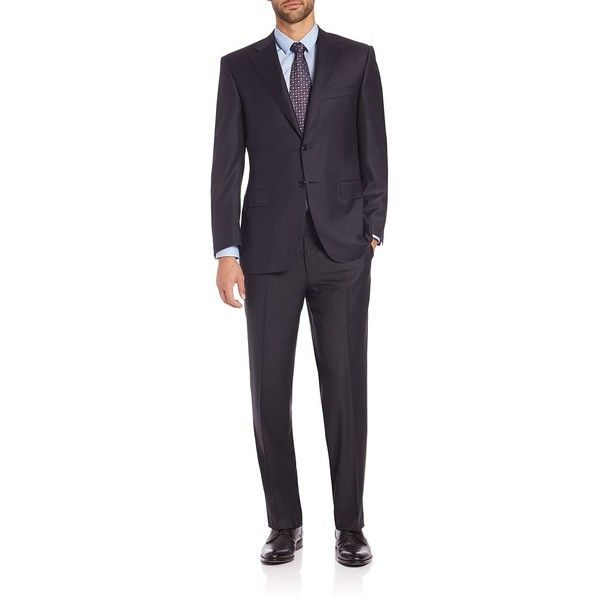 Canali Wool Two-Button Suit ($1,780) ❤ liked on Polyvore featuring men's fashion, men's clothing, men's suits, apparel & accessories, navy, mens navy suit, canali mens suits, mens tailored suits, mens wool suits and mens navy blue suit