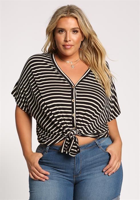 675793f6dcc4 Plus Size Stripe Tie Front Crop Top | Threads | Plus size outfits ...