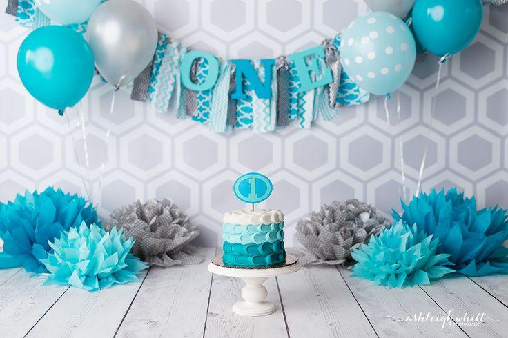 Blue gray aqua cake smash balloons  Ashleigh Whitt Photography - Cleveland Cake Smash Photographer