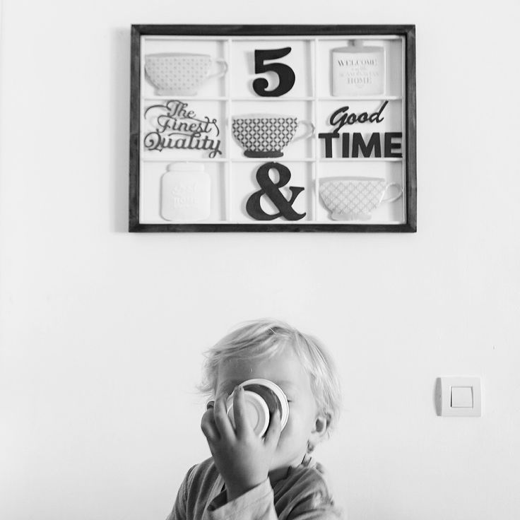 Black & White - baby Lucas playing pretending to drink coffee ☕️