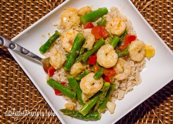 Meyer Lemon-Garlic Shrimp & Asparagus with Brown Rice from @daily planet Dish Recipes
