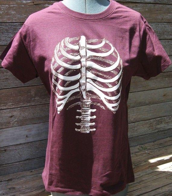 Skelet Torso ribbenkast T-Shirt van zedszombieranch op Etsy