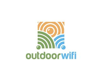 Outdoor Wifi Logo design - Logo design of a nature landscape with the fields and sun shaped like wify signals.  Price $260.00