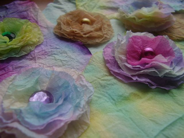 Flowers made with tissue paper and ecoline.