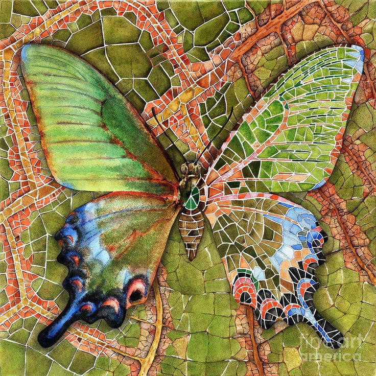 BUTTERFLY MOSAIC, Elena Yakubovich Painting    http://fineartamerica.com/featured/butterfly-mosaic-03-elena-yakubovich-elena-yakubovich.html#