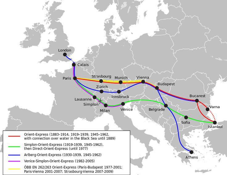 Orient Express - Wikipedia, the free encyclopedia - Image showing the routes and a key explaining which periods those routes were active.