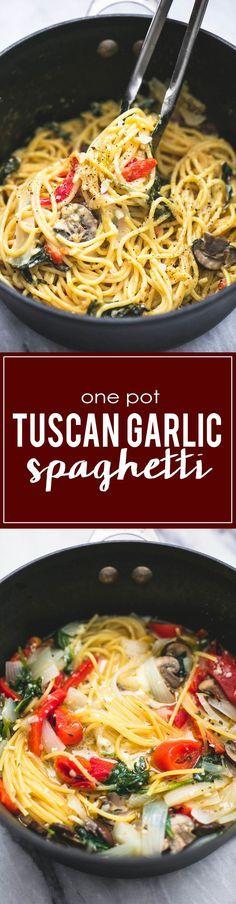 30 Minute One Pot Creamy Tuscan Garlic Spaghetti | http://lecremedelacrumb.com