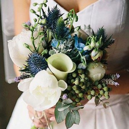 Australian Native Wedding Flowers Blue Green and Ivory Bridal Bouquet – The Knot