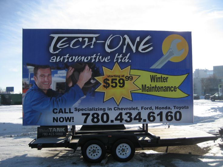Tech-One Automotive's bright and colourful Trailer Billboard stands out from the snowy background and makes a huge impact on drivers passing by #outofhomemarketing #alternativeadvertising #mobilebillboard #outdooradvertising