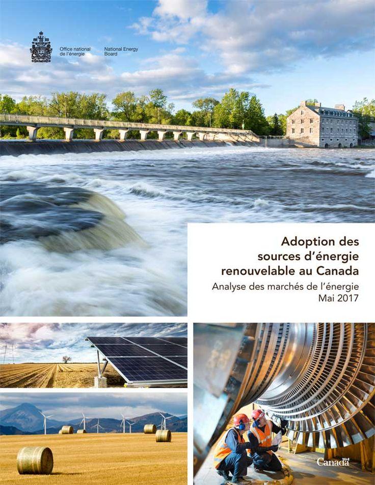 En haut à gauche: barrage du patrimoine québécois de l'île des Moulins à Terrebonne par une belle journée d'été; au centre à gauche : panneaux d'énergie solaire dans un champ sous un ciel agité; en bas à gauche: éoliennes dans un champ cultivé avec balles de foin à l'avant-plan et montagnes au loin; en bas à droite : inspection d'une turbine dans une centrale