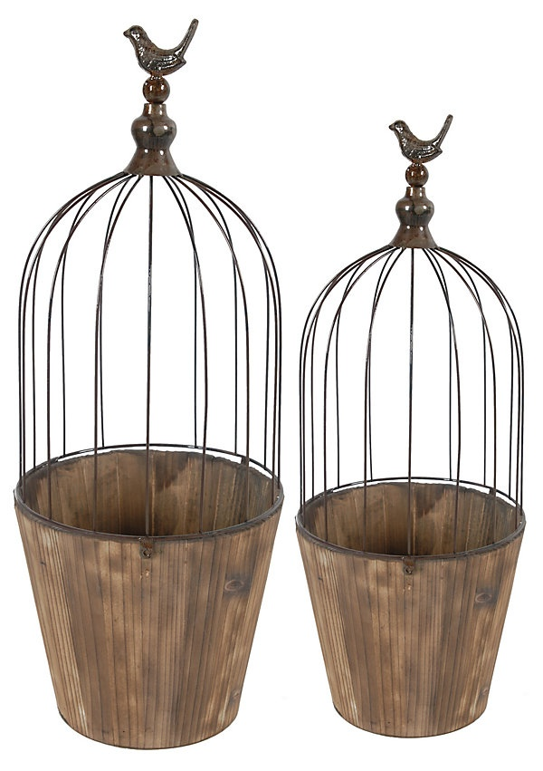 One Kings Lane - Country Fresh - S/2 Birdcage Planters