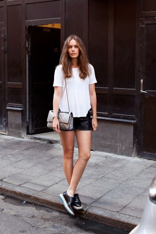 Leather shorts and white tee