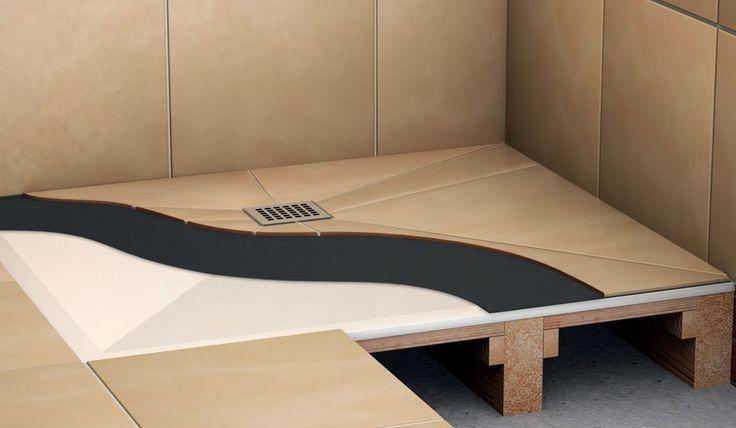 Cut away image of a wet room floor