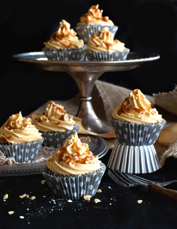 The Kiwi Cook   Chocolate Cupcakes with Peanut Butter Cream and Caramel Sauce   http://thekiwicook.com