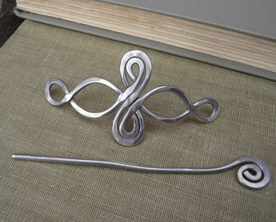 Celtic Infinity Loops Aluminum Shawl Pin Hair by nicholasandfelice