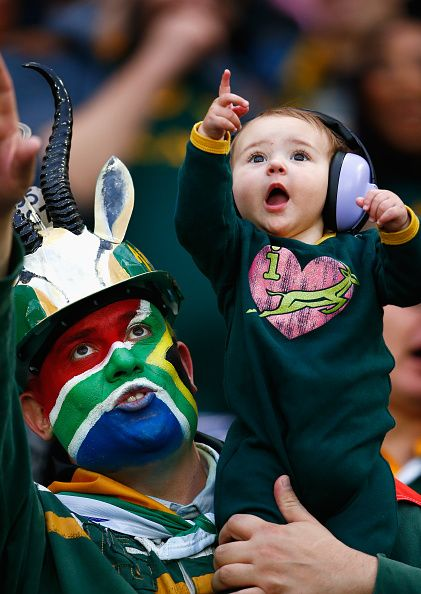 South Africa fans during the 2015 Rugby World Cup Pool B match between South…