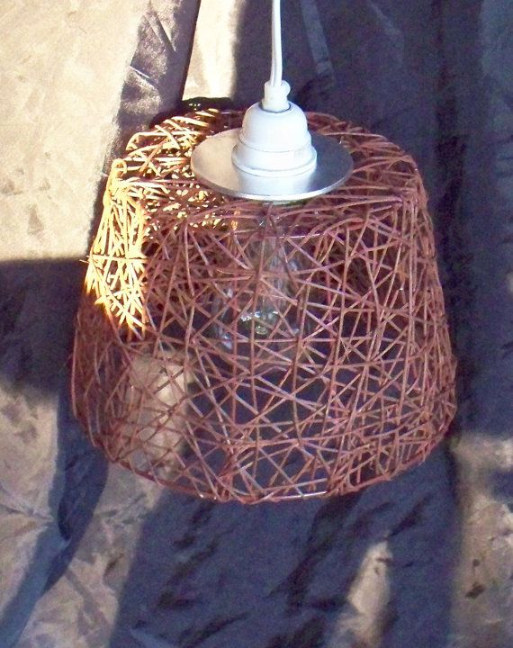 eco friendly, Island Style, re-purposed basket, upcycled vintage, pendant lighting, hanging light, repurposed, metal and reeds