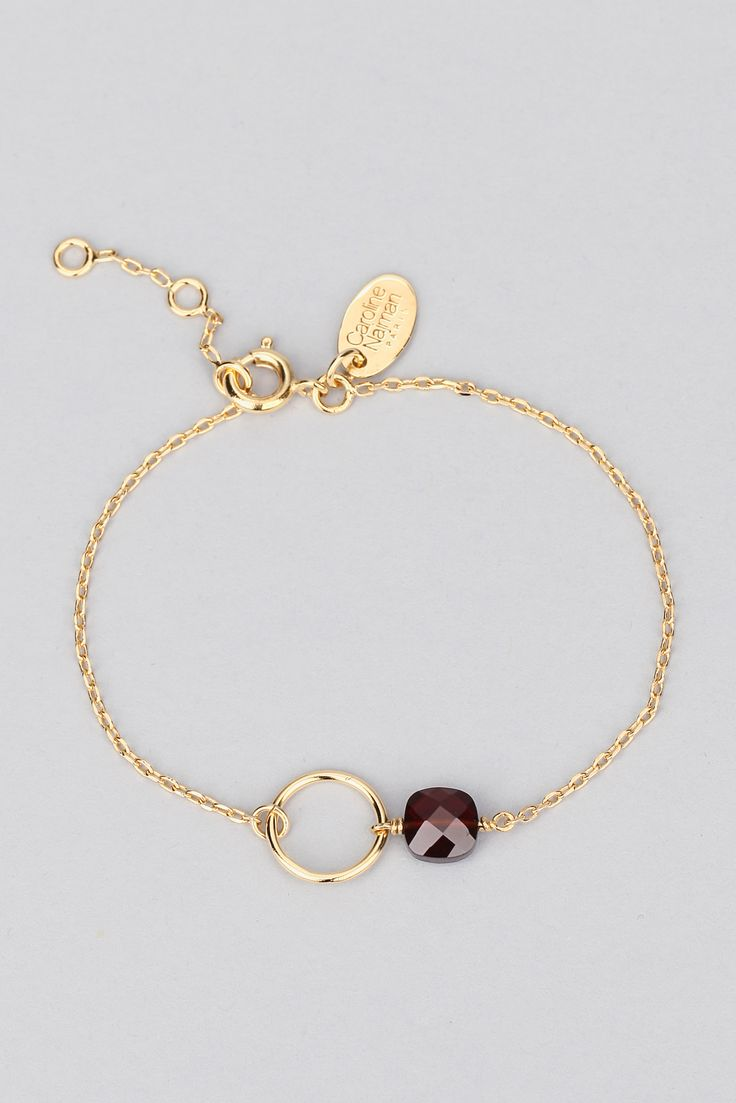 Bracelet doré pierre grenat Fidji - Caroline Najman