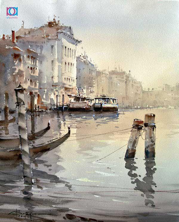 Corneliu Drăgan-Târgoviște – Veneția, acuarelă | http://artportfolio.ro