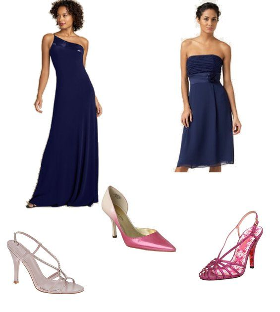 what color shoes to wear with navy blue dress to wedding